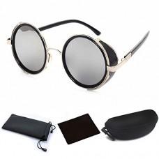 Round Sunglasses Retro Punk Steampunk 50s Fashion Goggles Vintage Style Blinder Silver Frame & Gray Lens for Men Women Unisex Outdoor Bike Riding Driving - B01KHQZMW2