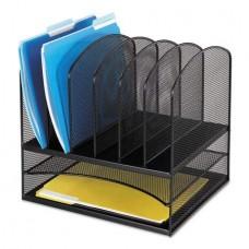 Safco Mesh Desk Organizer  Eight Sections  Steel  13 1/2 x 11 3/8 x 13  Black -SAF3255BL - B07GK2RYJK