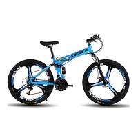 Omeng Shock Speed Mountain Bike Bicycle 3 Spoke Wheels Folding 24/26 inch Dual Disc Brakes (21 speed) - B07F2D81VN