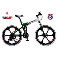 Virsilas Folding Mountain Bike - Full Suspension MTB - V1 Sport - Official Green - B071GFFQCW