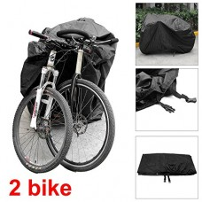 Coolbuy Mountain Bike/Road Bike Rain Cover Waterproof & Anti-UV - Protection from All Weather Conditions for Mountain & Road Bikes Bike Cover for 2 Bikes(Black) - B07CSN1W5Z
