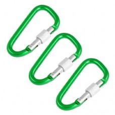 eDealMax lega di alluminio a Forma di D campeggio Trekking Vite di bloccaggio Moschettoni Clip gancio 3 pezzi Verde - B07GPV8VJ7
