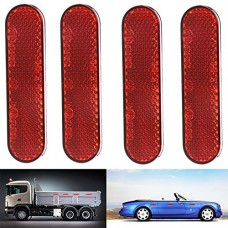 """ASSR High Visibility Reflective Stick On Reflector  Pack of 4 Oval Stick On Reflector for Trucks  Towing  Trailers  RVs and Buses  3.78"""" L x 0.94"""" W - B07CKWKTCQ"""