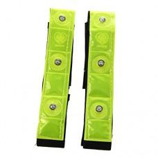 SODIAL(R) 2 x Reflective Band Arm Leg Strap Belt 4 LED Light Cycling Running Jogging - B00KBQDV1I