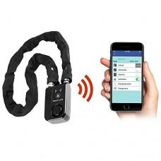 "Wsdcam Keyless Bluetooth Bike/Motorcycle/Gate Lock IP44 Splash-proof Smart Bicycle Chain Lock with 110db Alarm  0.38"" Diameter 31-inch Clothe Covered Chain - B0779B8C6Z"