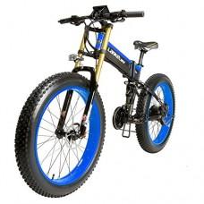 LANKELEISI XXT750PLUS1000 26 Inch Fat Tire Folding Electric Bicycle 48V10Ah Shimano 27 Speed Full Suspension Snow Mountain Beach E-bike 1000W Motor 5in LCD Speedometer Dual Hydraulic Disc Brake - B07DLT34Q5