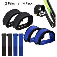 IDWAI 4Pcs Bike Pedal Straps  Bicycle Feet Strap Pedal Straps For Fixed Gear Bike, Bonus 4 Pcs Reusable Fastening Bike Straps - B07DXK25GY