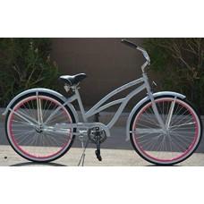 "Colby Cruisers Tiara 26"" Beach Cruiser Bicycle (Grey/Pink) - B07G7HWSFL"